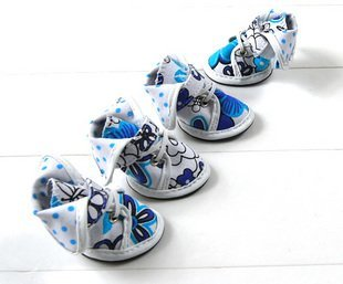 Hot Sale!High Quality Brand Fashion Dog Canvas Shoes 4Color 5Size Pet Footwear Wholesale/Retail Dog Supplies Mix Order