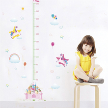 cartoon animals castle unicorn height measure wall decals kids rooms home decor 50*70cm growth chart wall stickers pvc mural art цена
