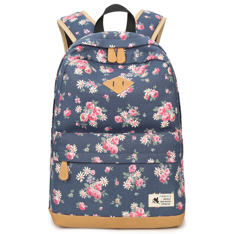 JCPAL Винтаж холст Для женщин рюкзак школьные сумки школьный для девочек-подростков с цветочным принтом путешествия ноутбук рюкзак Mochila ...