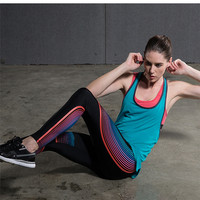 Women Yoga Compression Pants Elastic Tights Female Exercise Sports Fitness Jogging Jogger Running Trousers Gym Slim