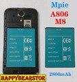 100% Nova Placa original 2800 mAh Bateria para Mpie M8 A806 A8