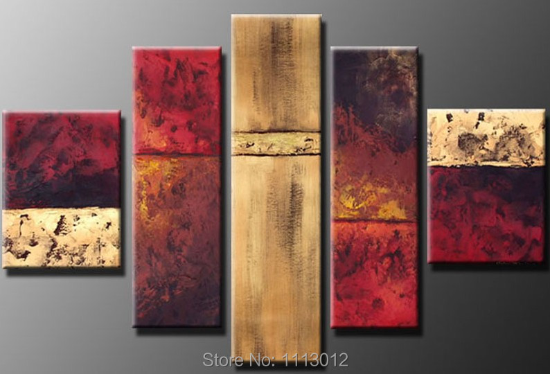 100% Hand Painted Knife Oil Painting High Quality 5 Pcs Sets On Canvas Home Decoration Modern Picture For Living Room Hot Sale