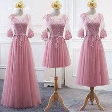 Пыльной розы платья невесты прекрасный Бабочка Половина рукавом доступным кружева свадебного банкета гостевой Пром платье халат де Soriee