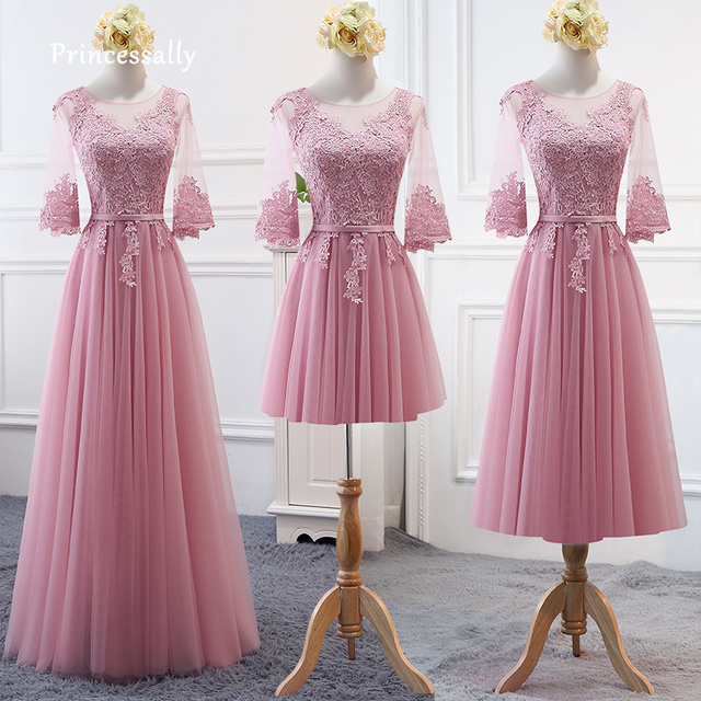 5a9a28119bd New Dusty Rose Bridesmaid Dresses Lovely Butterfly Half Sleeve Affordable Lace  Wedding Banquet Guest Prom Gown Robe De Soriee