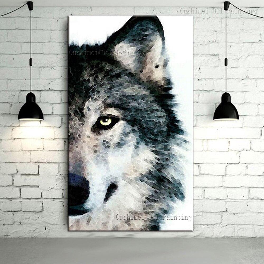 Artiste fournir directement de haute qualit main peint gris loup peinture l 39 huile sur toile - Peinture professionnelle haut de gamme ...