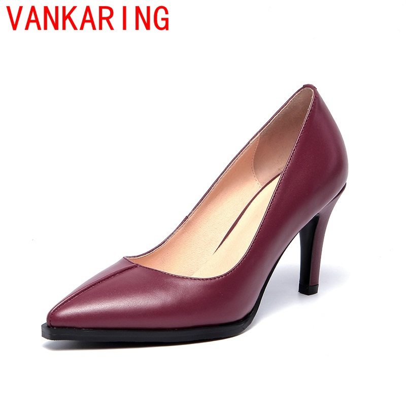 ФОТО VANKARING shoes 2016 high quality Thin Heels Platform Pumps Pointed Toe Sexy Women Pumps two Colors Size 34-39 Party lady Shoes