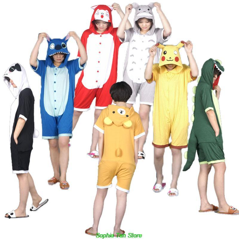 Novelty Summer Cosplay Costumes Cotton Onesie For Adults Pajamas Anime Unisex Short Sleeve Sleepers For Costume Party
