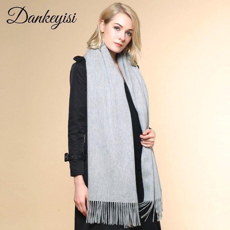 DANKEYISI Design Wool Scarf Women Bandana Winter Long Warm Pashmina Scarf Shawls Female Solid Color Tassels Scarves Wraps