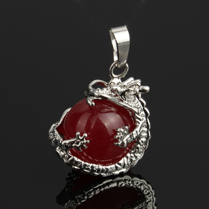 2019 New Natural Gem stone Dragon Pendants Quartz Green Aventurine Blue Sand Stone Crystal Opal necklaces pendants Jewelry(China)