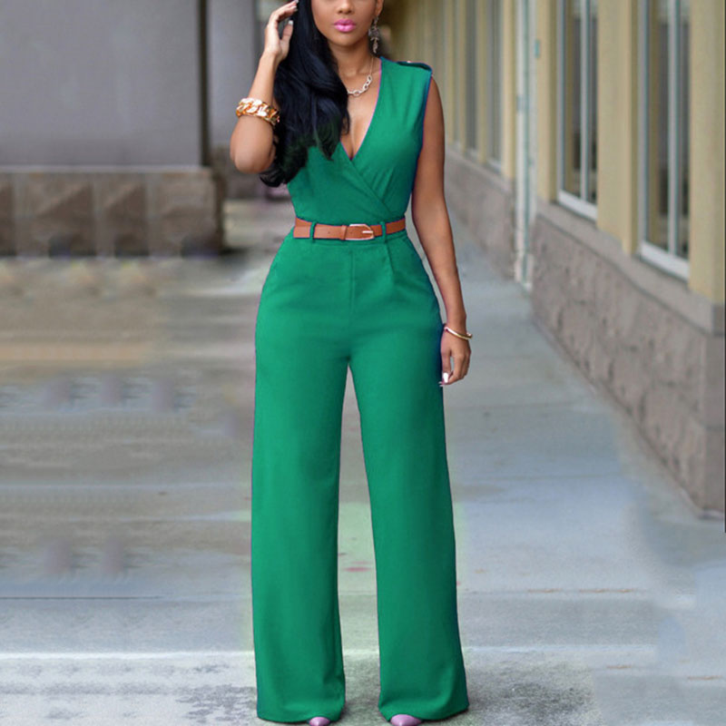 Fashion Summer Women Jumpsuit With Belt Sexy V Neck Solid Color Sleeveless High Waist Wide Leg Romper Ladies Jumpsuits MUG88