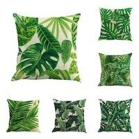 Creative High Quality Cotton Linen Africa Tropical Plant Banana Leaf Decorative Throw Pillow Case Cushion Cover