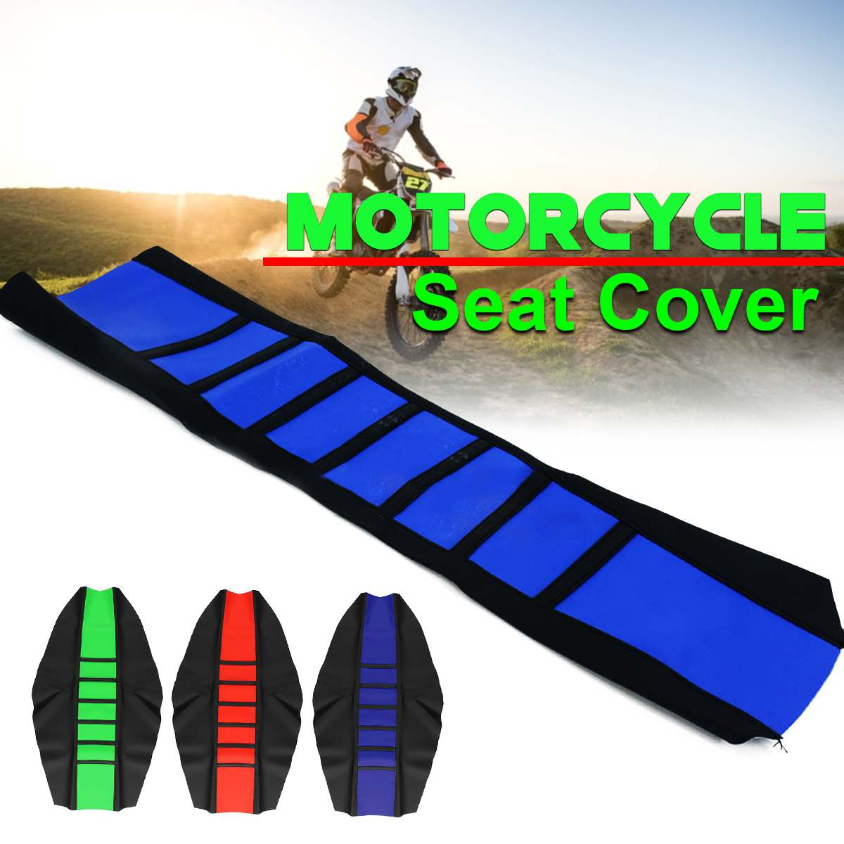 AUDEW Motorcycles Seat Cover Dirt Bike Off-road Gripper Soft Leather Striped Design Leather + Vinyl Material Wear Resistant