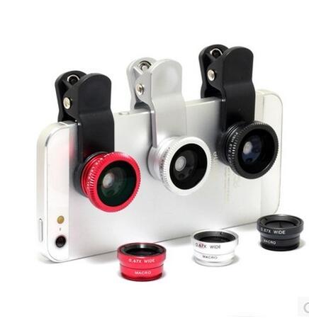 new  Fish eye lens 3 in 1 universal mobile phone camera wide+macro+fisheye lenses for iphone samsung universal cell phone LG