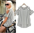 Summer Maternity Clothing Cotton Stripped Tee For Pregnant Women Casual Off Shoulder T-Shirts Pregnancy Clothes New Top Blousers