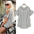 Summer clothing algodón despojado camiseta para las mujeres embarazadas de maternidad ocasional del hombro camisetas ropa embarazo nueva top blousers