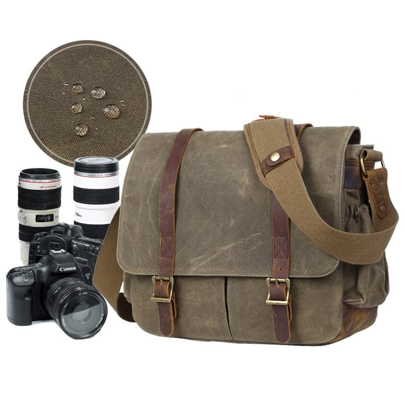 LXH sac à bandoulière étanche pour appareil photo en toile sac à main multifonction pour Nikon Canon Sony Fuji DSLR sac photo Vintage