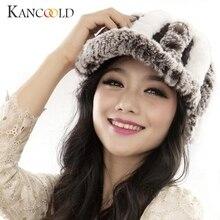 Winter Fashion Female Rex Rabbit Fur Knitted Hat Women Handmade Warm Caps Beanies Head Warmer Skullies