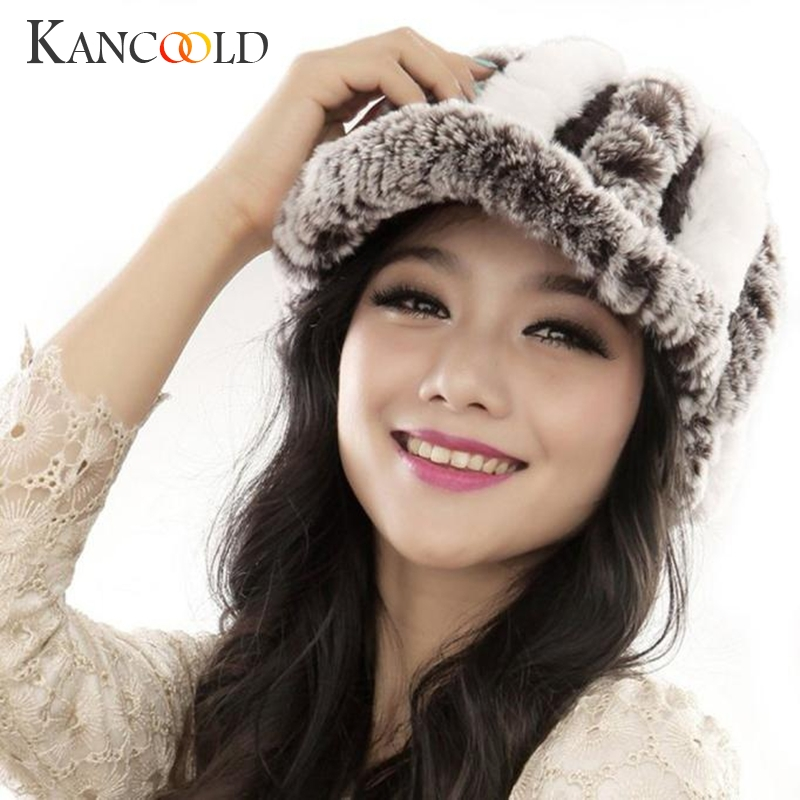 Winter Fashion Female Rex Rabbit Fur Knitted Hat Women Handmade Warm Caps Beanies Head Warmer Skullies Lady Headgear Dec16