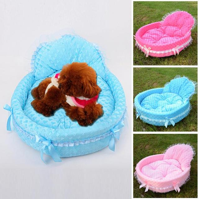 Pet Dog Puppy Cat Beds Soft House Cushion Mat Lace Princess Bed Pet nest Size S/M