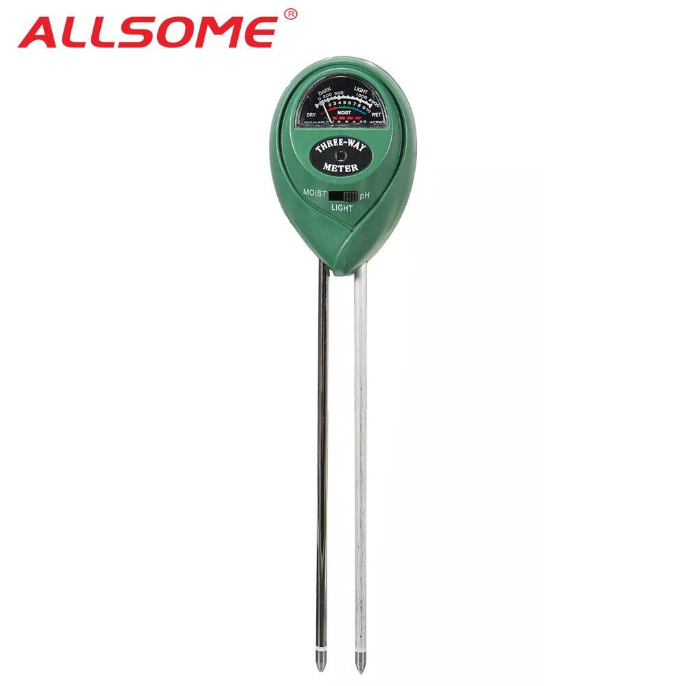 ALLSOME 3 In1 Garden Plant Flowers Soil PH Tester Moisture Light Meter Testing Tools HT1406+