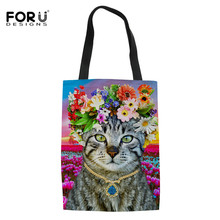 FORUDESIGNS Kawaii Flower Cat Printing Tote Lady Handbags Stylish Girls Canvas Single Shoulder Bag Women Portable Shopping