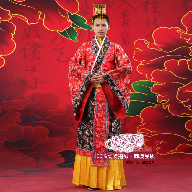 Free Shipping Red Chinese Ancient Man Clothing Emperor Prince Show Cosplay Robe Costume Chinese Folk Dance One Size