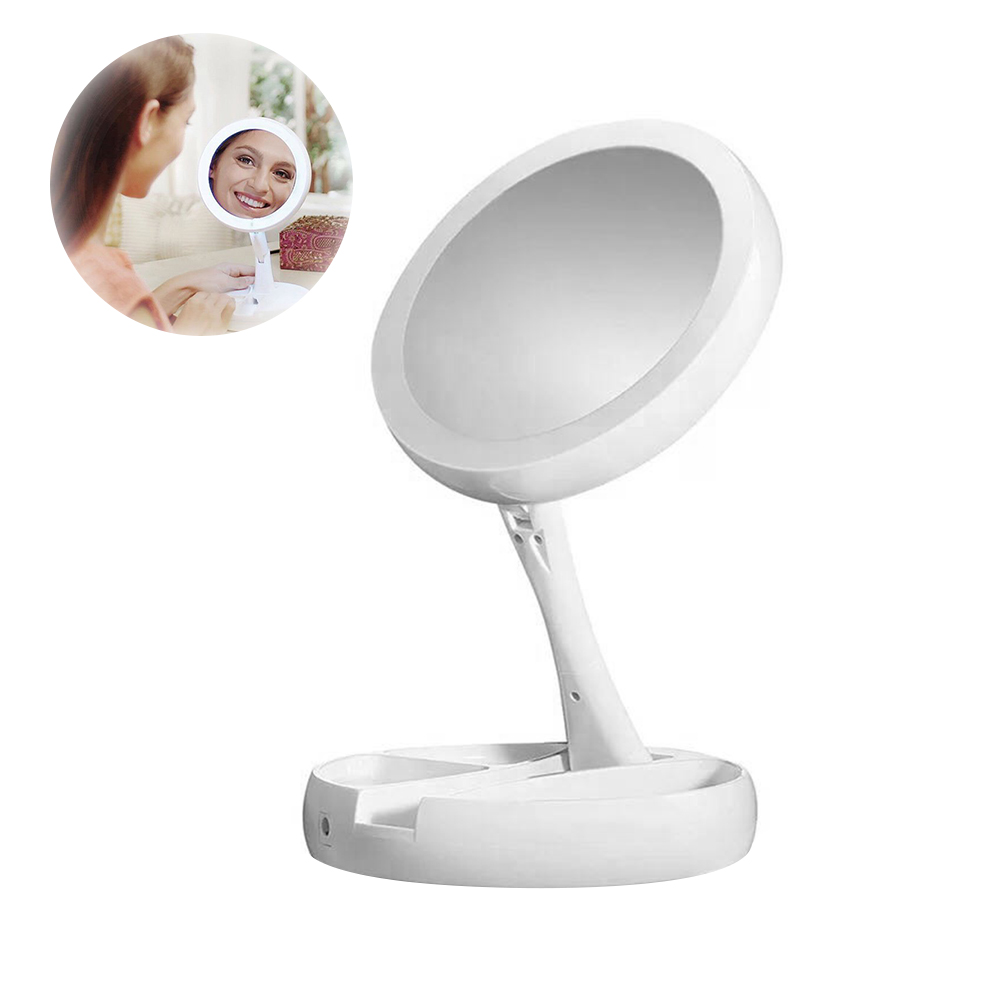 LEDGLE Foldable Makeup Mirror Compact LED Makeup Mirrors Simple Mirror With 21 LED Beads, 1X/10X Magnifying, Rotatable Design
