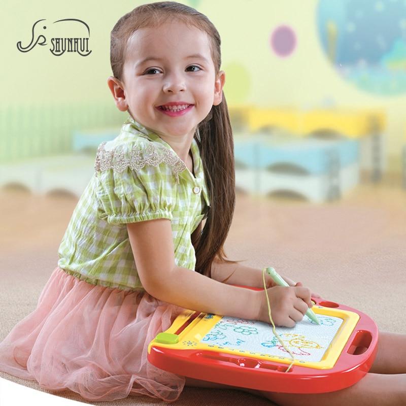 SHUNHUI kūdikių magnetinio piešimo tapybos lenta Plastikiniai žaislai Antspaudai Doodle eskizų rašymo lenta Ikimokyklinis žaislas vaikams