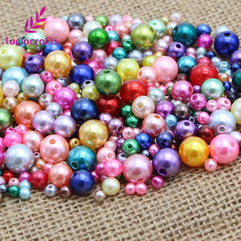 Lucia crafts 4/5/6/8/10mm ABS Round Imitation Pearls Loose Beads with Hole DIY Accessories 50g/lot,Approx 500pcs E0809