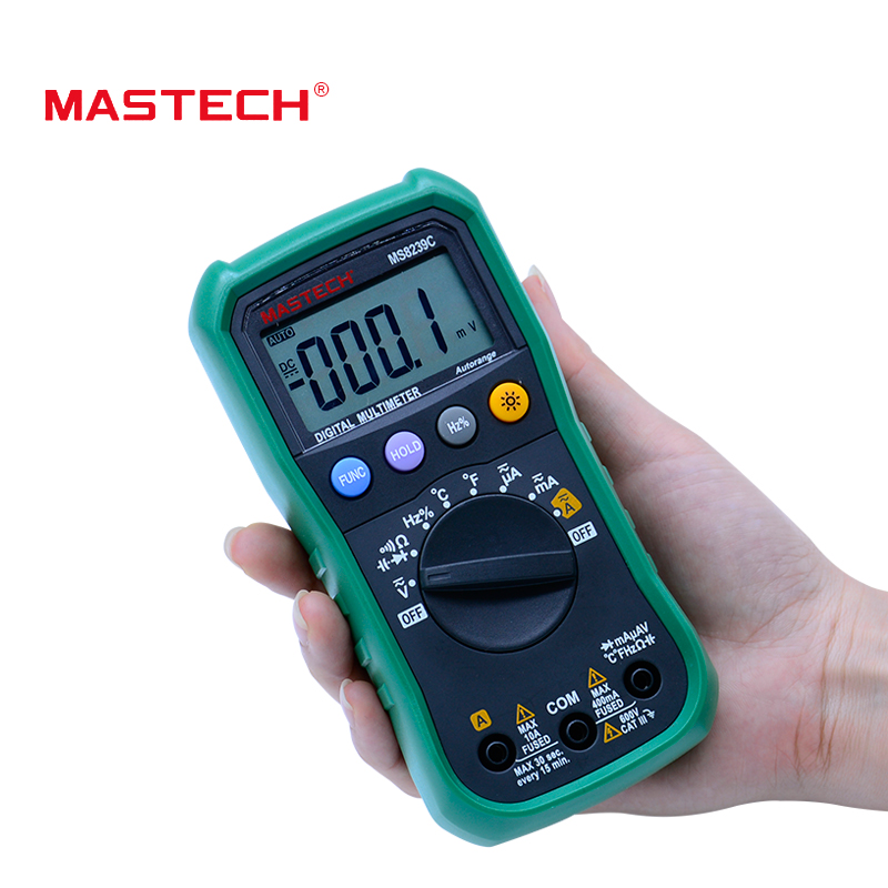 Digital Multimeter MASTECH MS8239C  AC DC Voltage Current Capacitance Frequency Temperature Tester Auto range multimetro 3 3/4 bside adm02 digital multimeter handheld auto range multifunction dmm dc ac voltage current temperature meters multitester