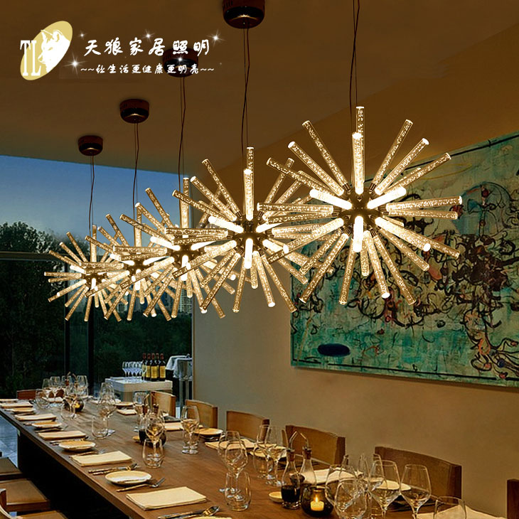 Modern LED sun shape spider LED pendant lights industrial living room restaurant bar bedroom crystal bubble hanging light lamp chinese style classical wooden sheepskin pendant light living room lights bedroom lamp restaurant lamp restaurant lights