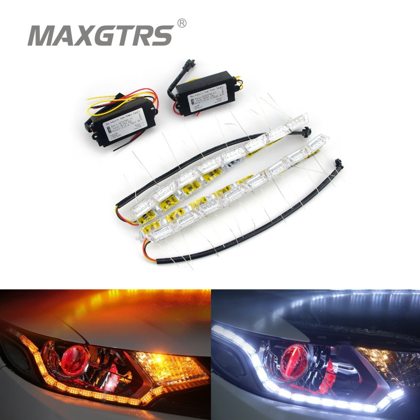 2x Car Flexible White/Amber Switchback LED Knight Rider Strip Light for Headlight Sequential Flasher DRL Turn Signal 30cm 50cm