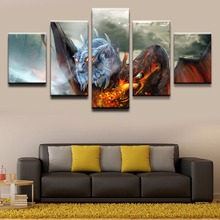Home Decor Canvas Art 5 Pieces Painting DOTA 2 Jakiro HD Printed Video Game Poster Wall Pictures Modern