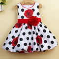 Princess Girls Dress New Fashion Dot Rose Flower Print Children Sleeveless Clothing Kids Party Dress High Quality