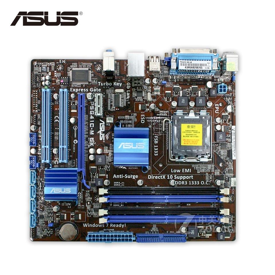 Asus P5G41C-M LX Desktop Motherboard G41 Socket LGA 775 DDR2 & DDR3 u-ATX On Sale video system desktop socket mounted on the table socket set desktop socket power strip socket without box