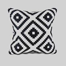 45cmx45cm Funda de cojín de tela clásica para el hogar color blanco y negro con diseño abstracto geométrico tipo diamante funda para cojín de cama o sofá