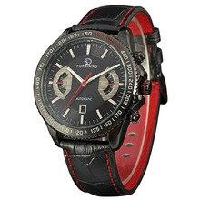 Forsining relogio automatico masculino мужские Часы Tourbillon Механическая черный кожаный ремешок марка мужчины часы с коробкой