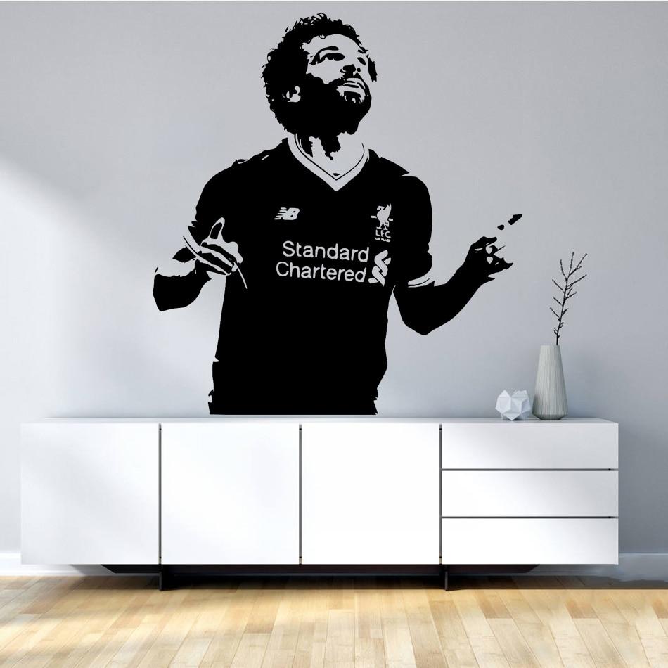 Mohamed Salah-autocollants muraux de joueur Football | Étiquette murale en vinyle, célèbre étoile de Football, papier peint amovible pour Club de Football, Art Mural, AZ397