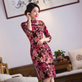 TIC-TEC women cheongsam short qipao chinese traditional oriental dresses red Embroidery velvet vintage evening clothes P2881