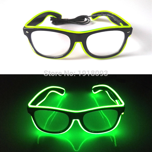 Cheap! 100PCS/Lot Glowing Sound active Glasses LED Neon Party Decor EL wire Sunglasses Holiday Lighting For Dance Wedding Party