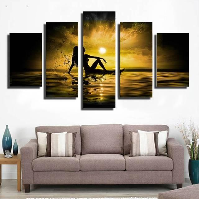 5 Panels Hd Printed Beauty Seaside Wall Art Painting Canvas Print ...