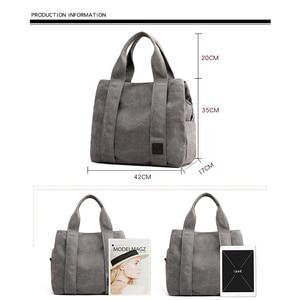 Image 3 - Woman Canvas Handbags Casual lady Big Capacity Shoulder Bags Girls Crossbody Pack Vintage Solid Multi pocket Ladies Totes Bolsas