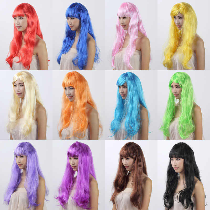Hot sale 1PCS Long Straight Hair Anime Black red Halloween Cosplay Wig Fibre Synthetic Hair Christmas Carnival Makeup Party Prop