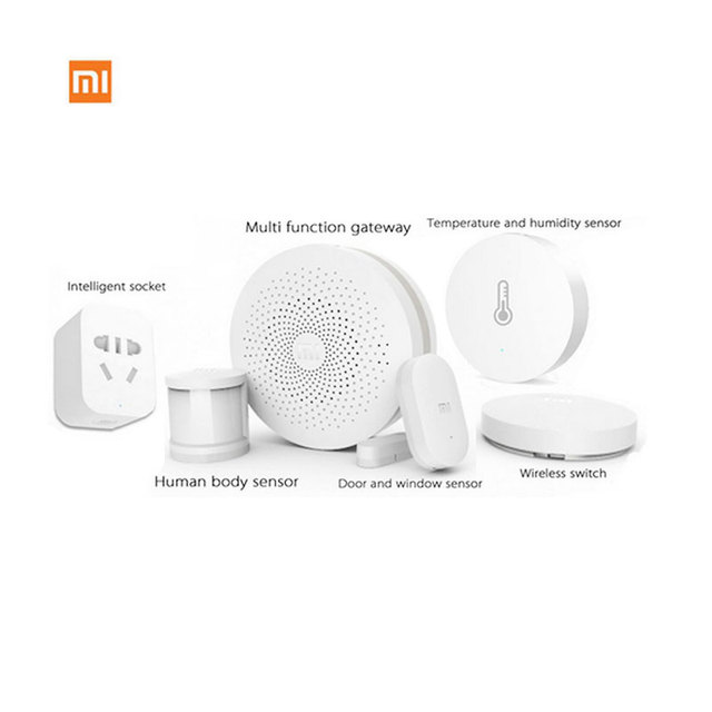 Smart Home Kit Xiaomi Gate-way + Door / Window, Temperature / Humidity, Human Body Sensor + Wireless Switch +  Socket