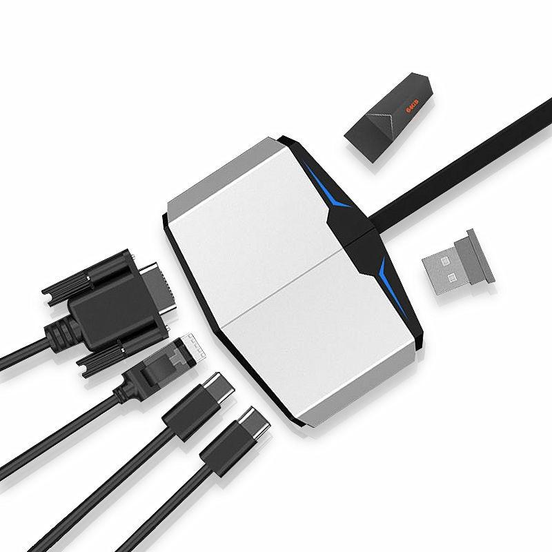 Thunderbolt 3 to HDMI VGA Converter Type c HUB RJ45 SD Card Reader PD USB For DELL XPS13 XPS15 XPS12 Alienware 13/15/17 Case