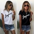 Nova Moda 2016 Mulheres Primavera Verão Mangas Curtas T-shirt Ocasional Letra Impressa Branco Tops Street Wear Feminino