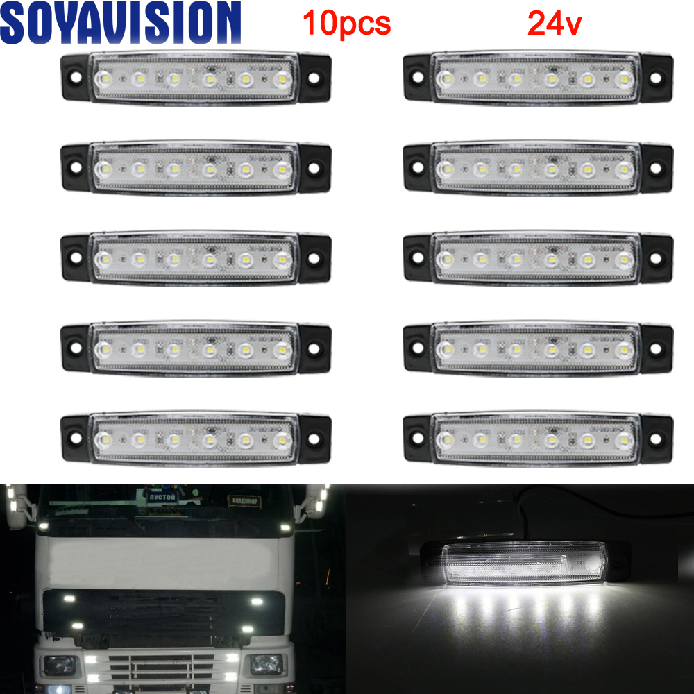 New 6 LED Auto Car Truck Trailer Side Marker Indicators Light Lamp 24v Super Bright Light Low Power Consumption Waterproof
