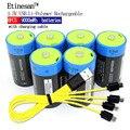 Etinesan 6 шт 1 5 V 6000mAh литий-полимерная аккумуляторная батарея размера D + USB набор зарядных кабелей
