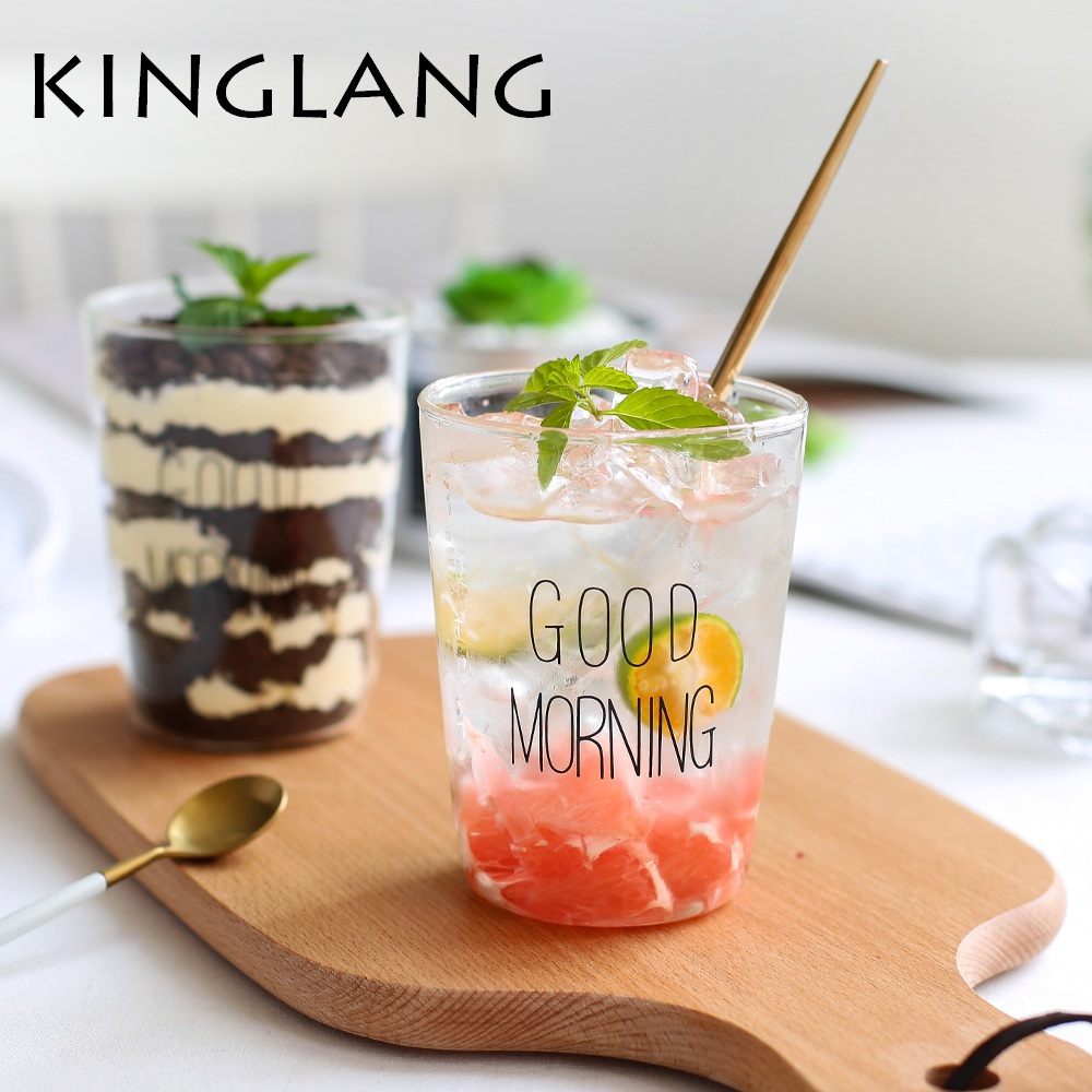 KINGLANG Creative Good Morning Letter Glass Breakfast Cup Water Glass Milk Cup Cold Drink Cup Juice Cup