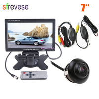 Wireless HD Car Reversing Camera 360 Degree Rorateable Waterproof + 7 LCD Monitor Car Rear View Kit Parking Backup System